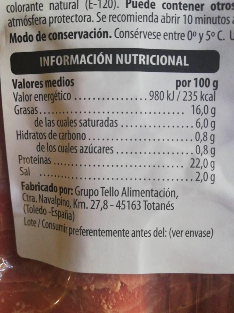 Chicharron frito con pistachos - Información nutricional