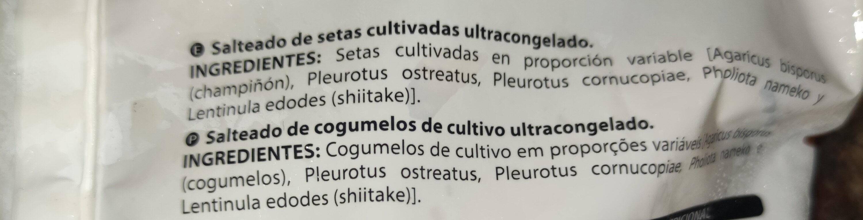 Salteado de setas cogumelos - Ingrédients - es