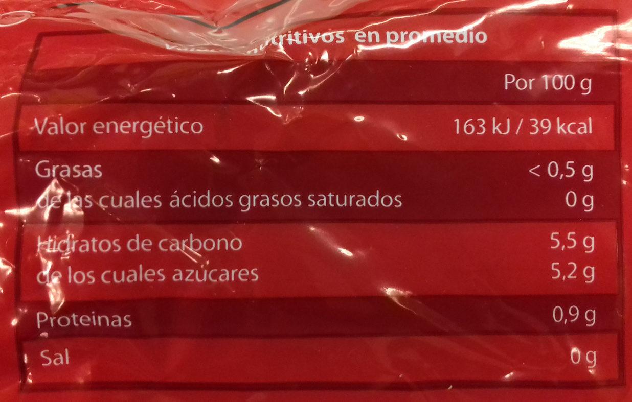 Mezcla de frutas rojas - Información nutricional