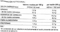 """Salteado De Verduras Asadas Congelado """"Hacendado"""" - 400 G - Nutrition facts"""