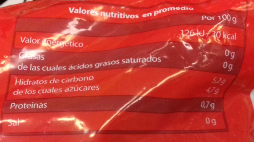 Fresas congeladas - Informació nutricional