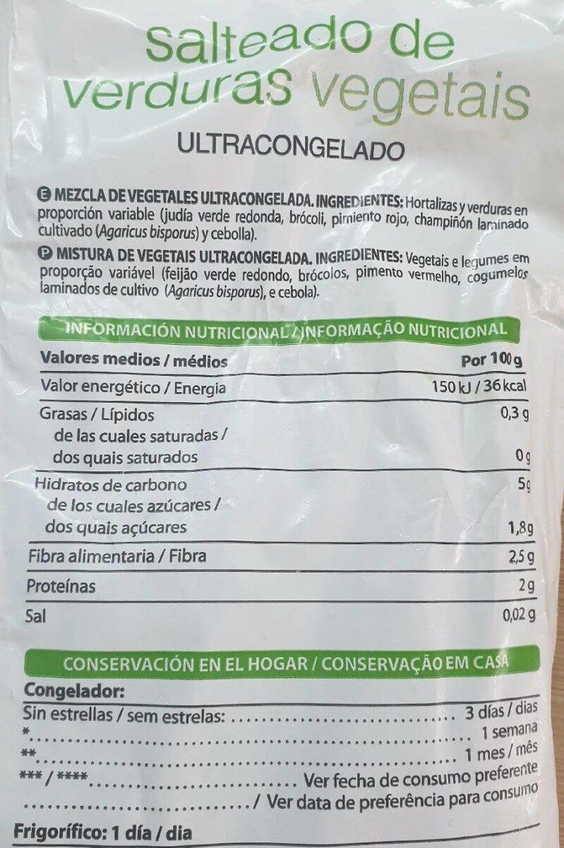 Salteado de verduras - Valori nutrizionali - es
