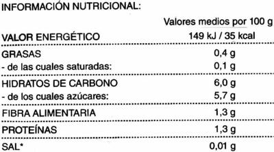 """Calabacines en dados congelados """"Hacendado"""" - Información nutricional"""