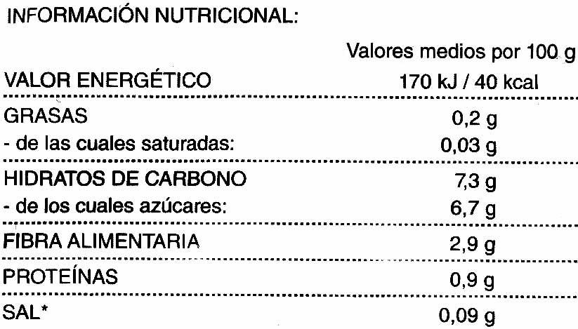 Zanahorias en rodajas congeladas - Informations nutritionnelles - es