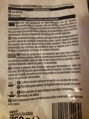 Zanahoria en rodajas congelada - Ingredients