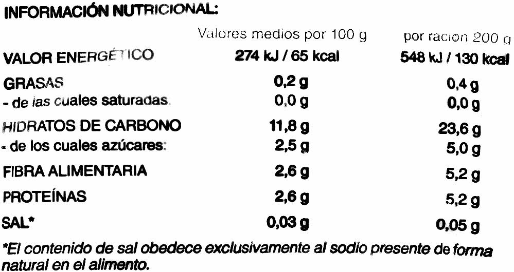 """Ensaladilla congelada """"Hacendado"""" - Información nutricional"""