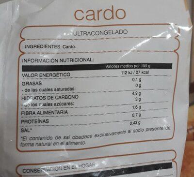 Cardo congelado - Información nutricional - es