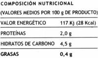 """Acelgas en hojas congeladas """"Hacendado"""" En porciones - Información nutricional"""