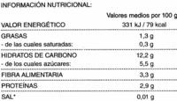 """Maíz dulce en grano congelado """"Hacendado"""" - Información nutricional"""