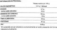 Garrofón - Informations nutritionnelles - es