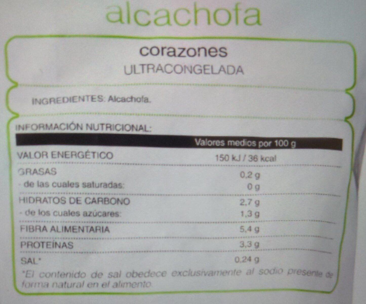 """Corazones de alcachofa congelados """"Hacendado"""" - Voedingswaarden - es"""