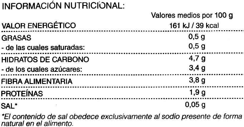 Ajos tiernos - Informations nutritionnelles - es