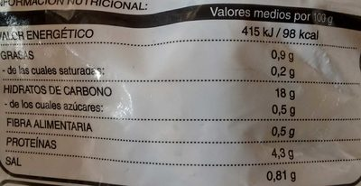 Arroz negro - Voedingswaarden