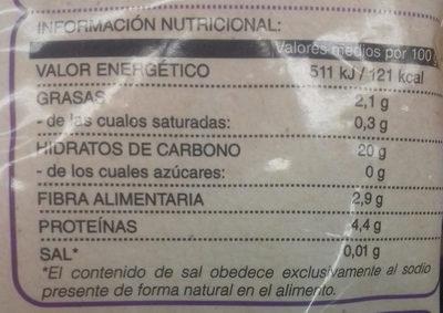 Quinoa congelada - Informations nutritionnelles