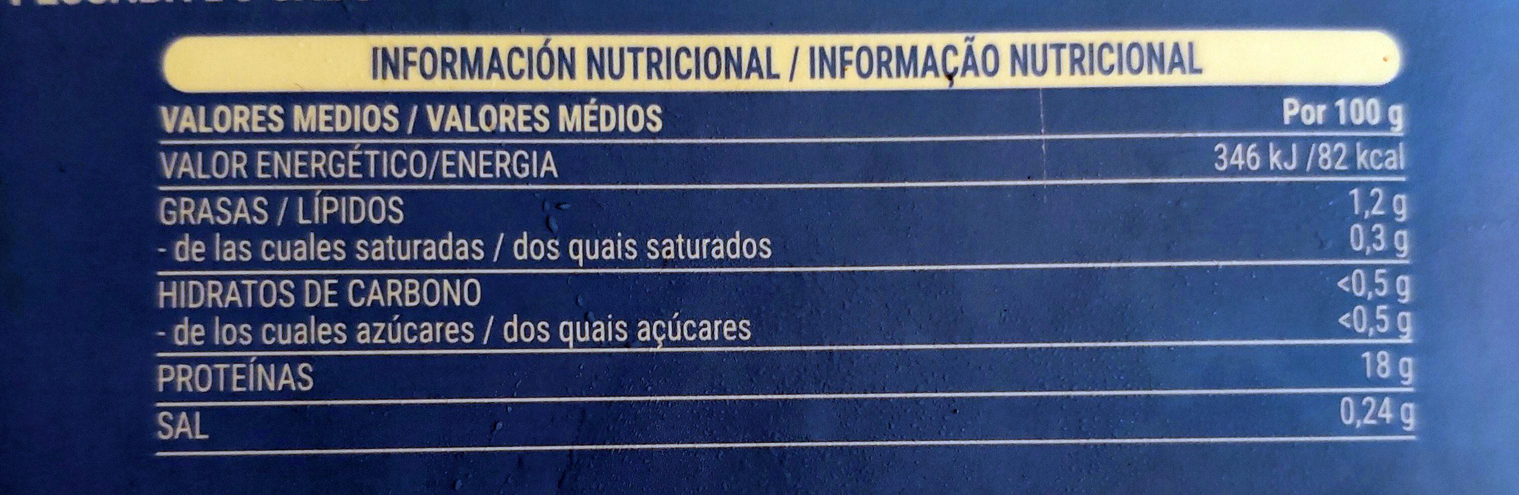 Lomos y centros de merluza del cabo - Voedingswaarden - es