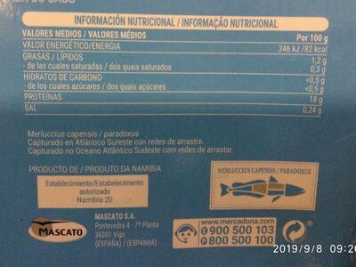 Lomos y centros de merluza del cabo - Nutrition facts