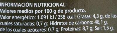 Masa Fresca Pizza de Cereales - Informations nutritionnelles