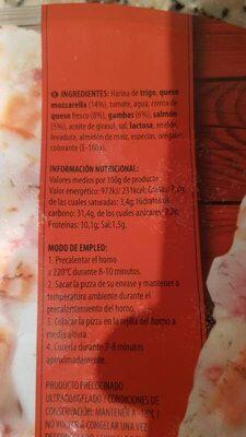 Pizza salmón y gambas - Información nutricional