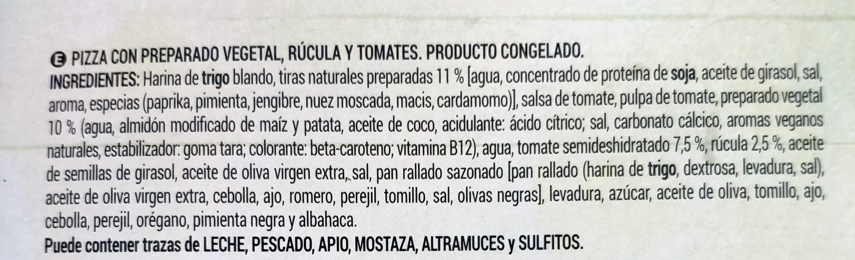 Vegan Pizza rúcula y tomate seco - Ingrediënten - es