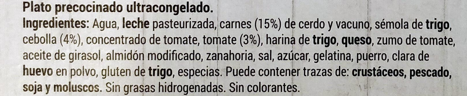 Lasaña Boloñesa - Ingredients