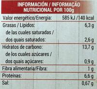 Lasaña Boloñesa - Nutrition facts