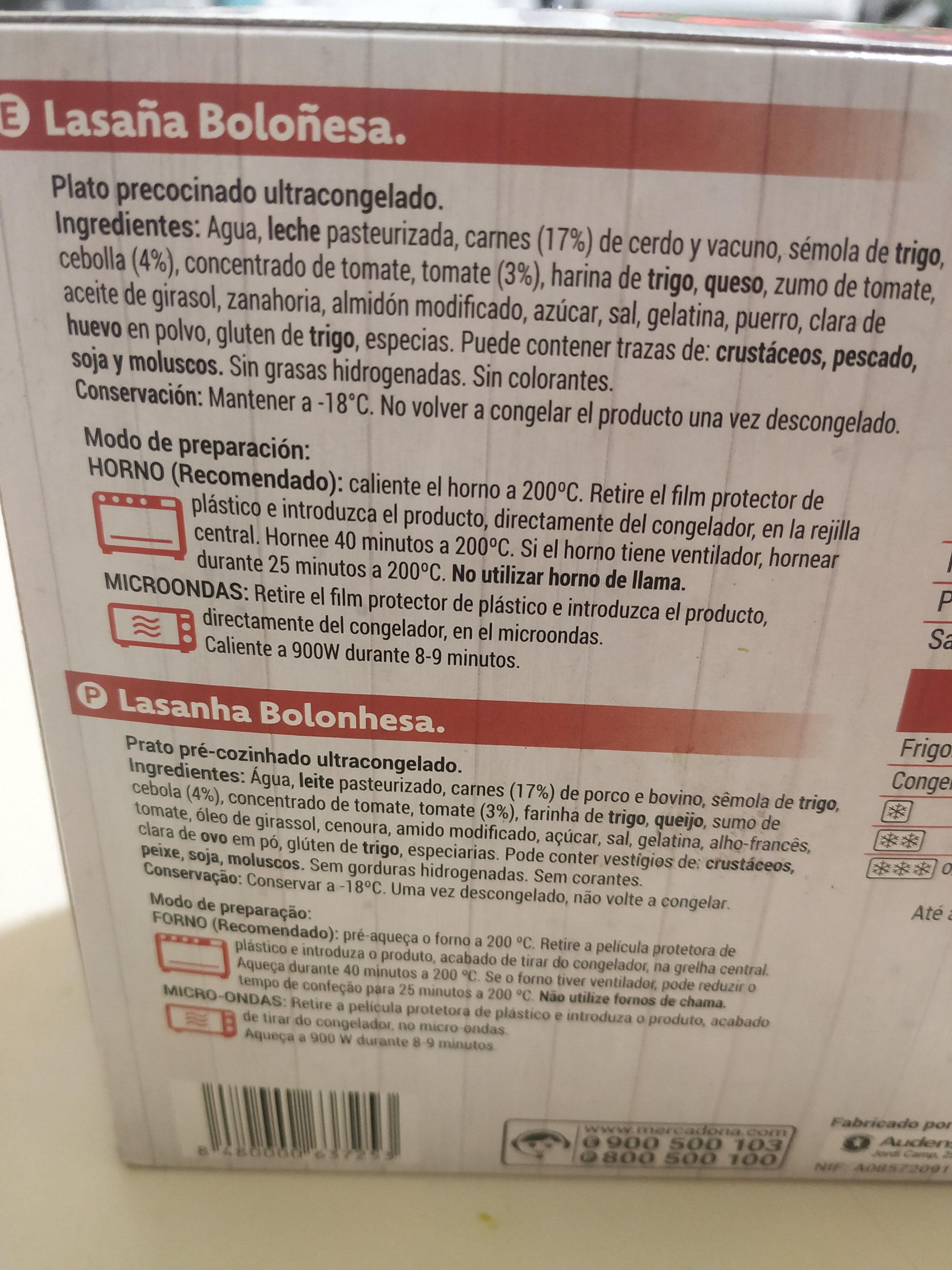 Lasagna boloñesa - Ingredientes - es