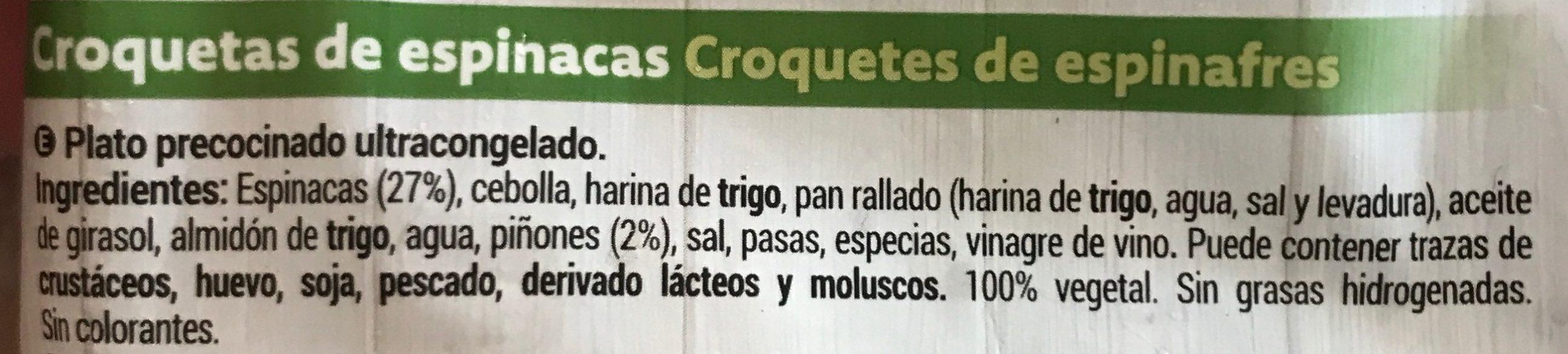Croquetas Espinacas - Ingredients