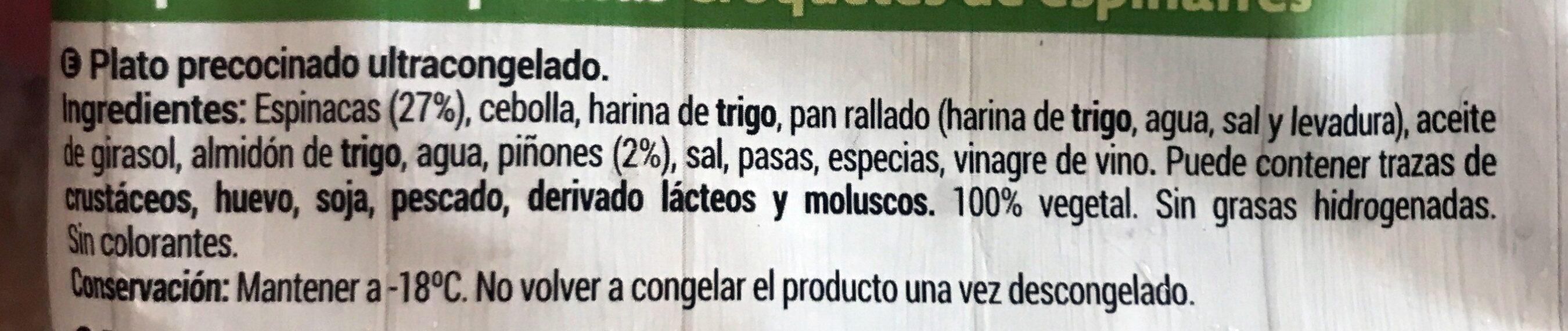 Croquetas espinacas - Ingredientes - es