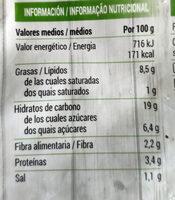 Croquetas espinacas - Información nutricional - es
