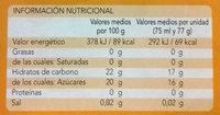 Helados de naranja - Informations nutritionnelles - es