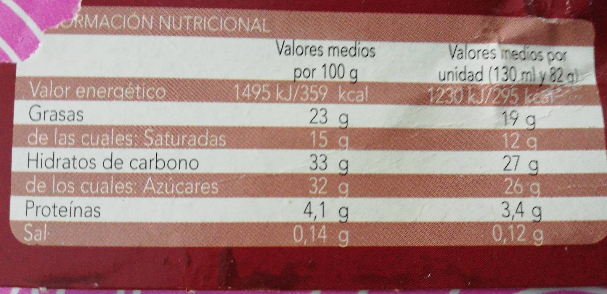 Cône chocolat - Informació nutricional