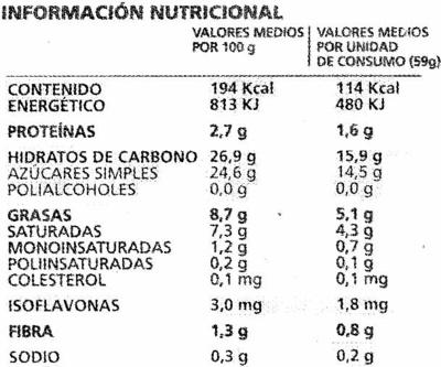 Polos de soja con chocolate - Nutrition facts - es