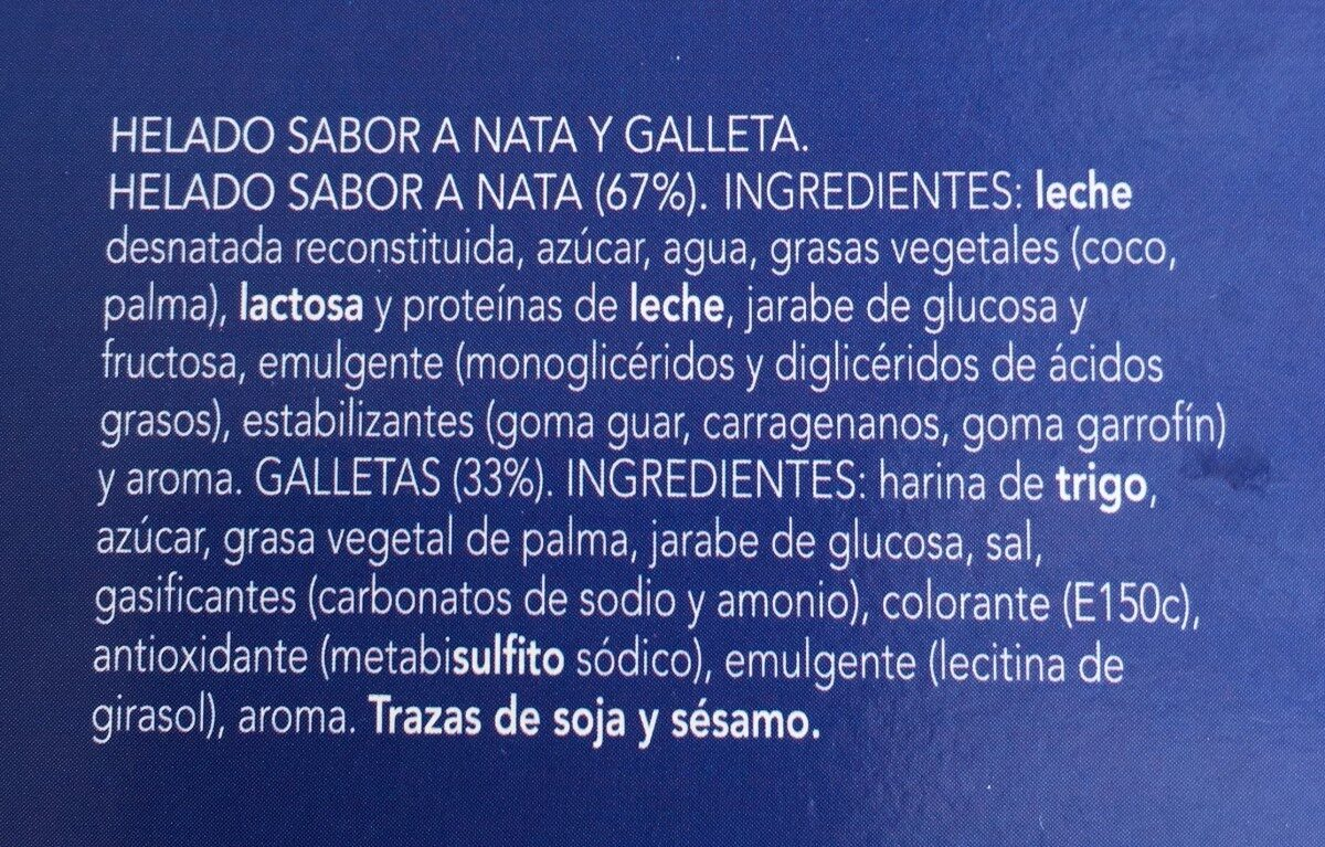 Sandwich nata icecream - Ingredientes