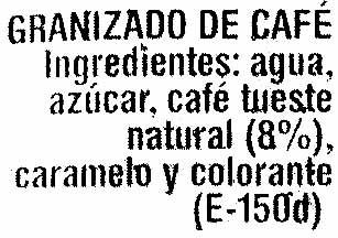 Granizado de café - Ingredientes - es