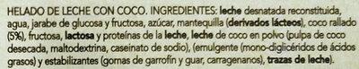Helados coco - Ingredients - es