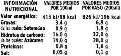 Granizado horchata - Informació nutricional - es