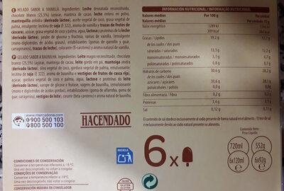 Helado blanco sabor vainilla - Ingredients - es