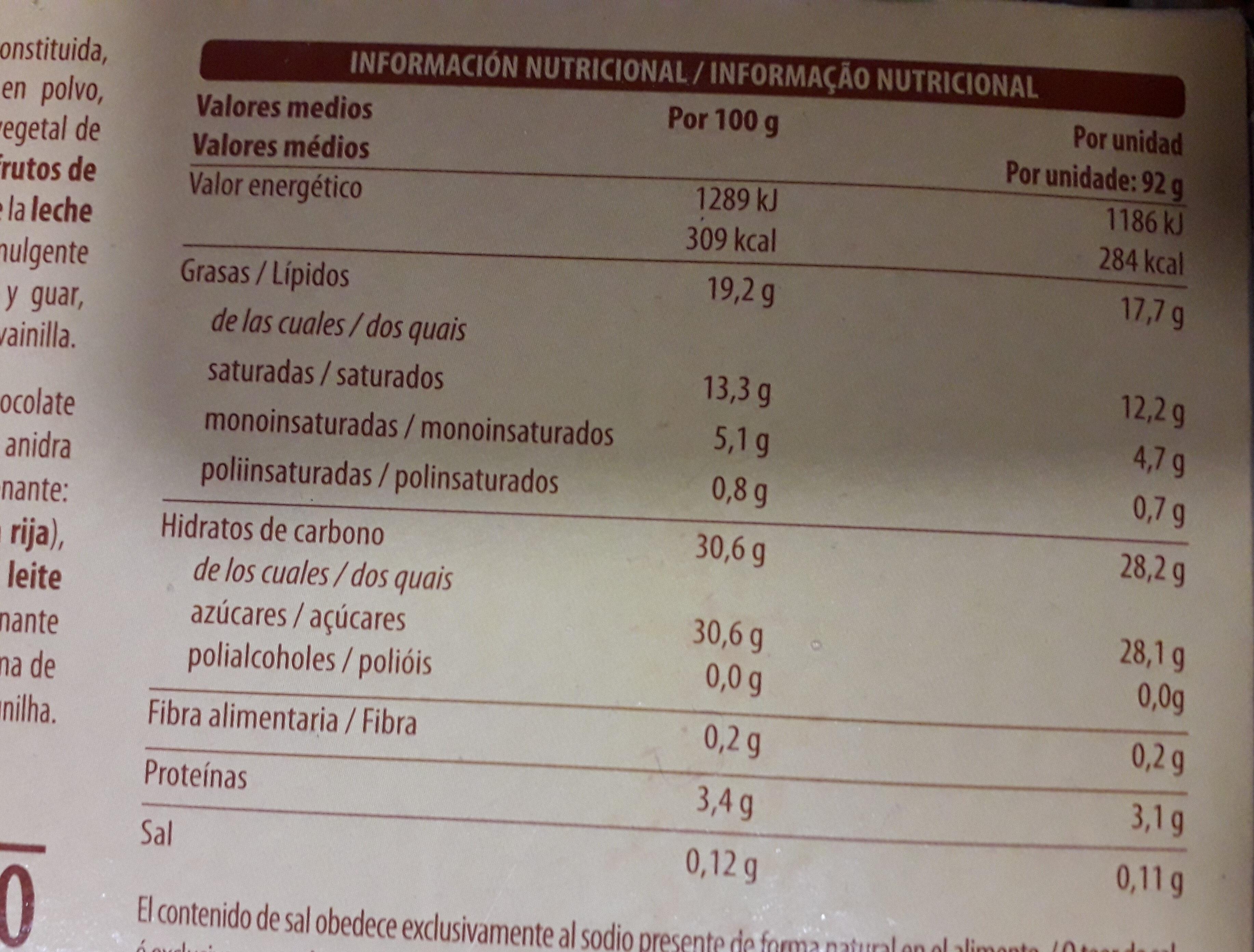 Helado blanco sabor vainilla - Nutrition facts - es