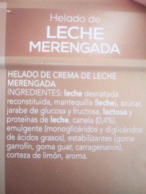 Helado de Leche merengada - Ingredientes