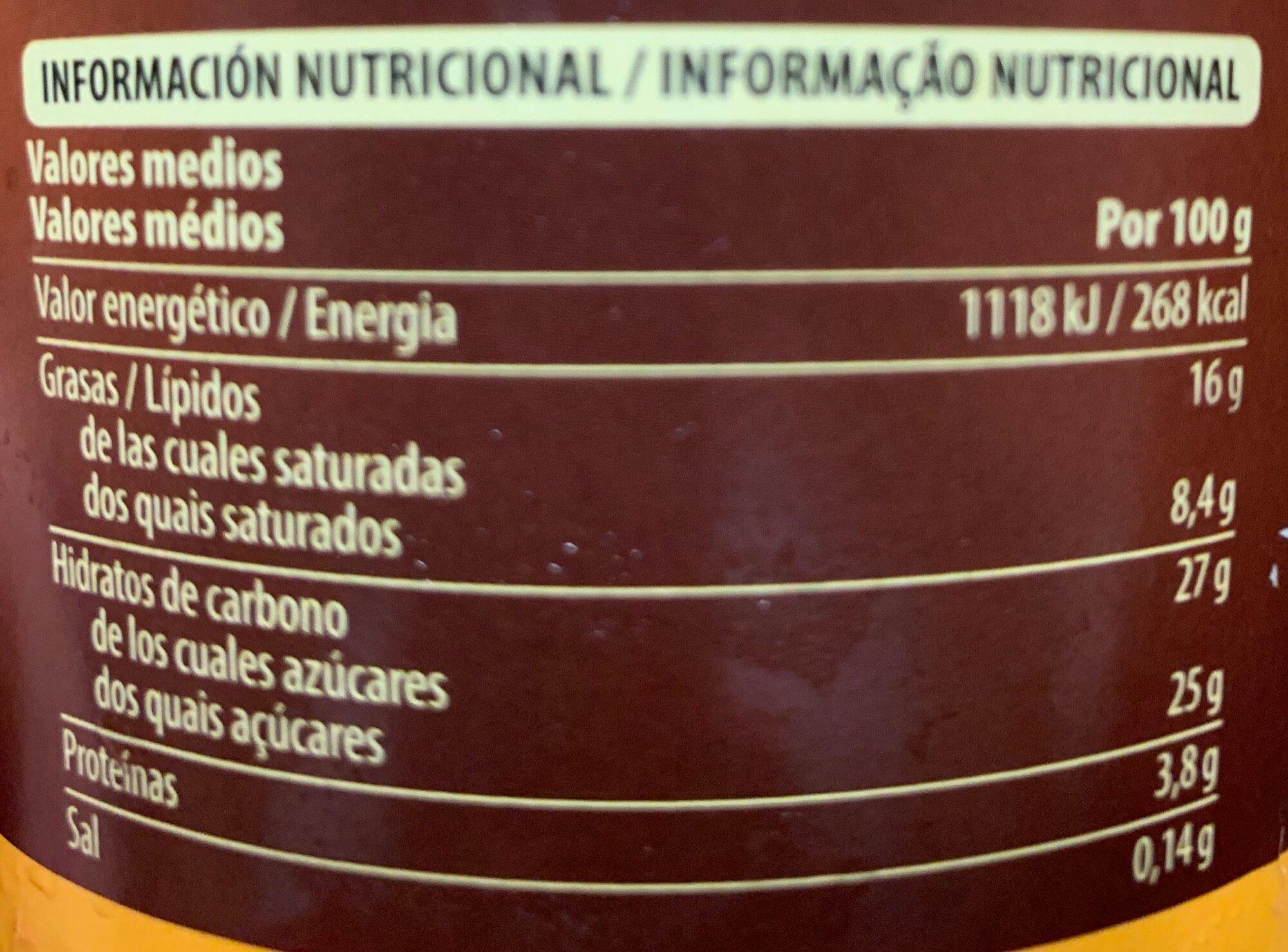 Vainilla y nueces de macadamia - Informació nutricional - es