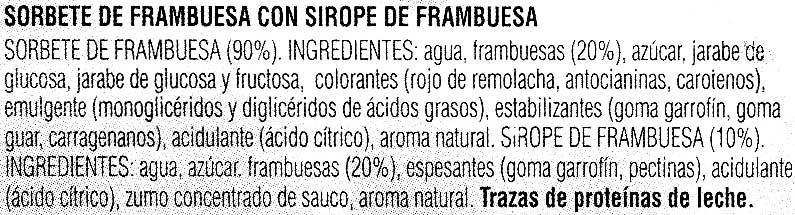 "Sorbete de frambuesa ""Hacendado"" - Ingrediënten"