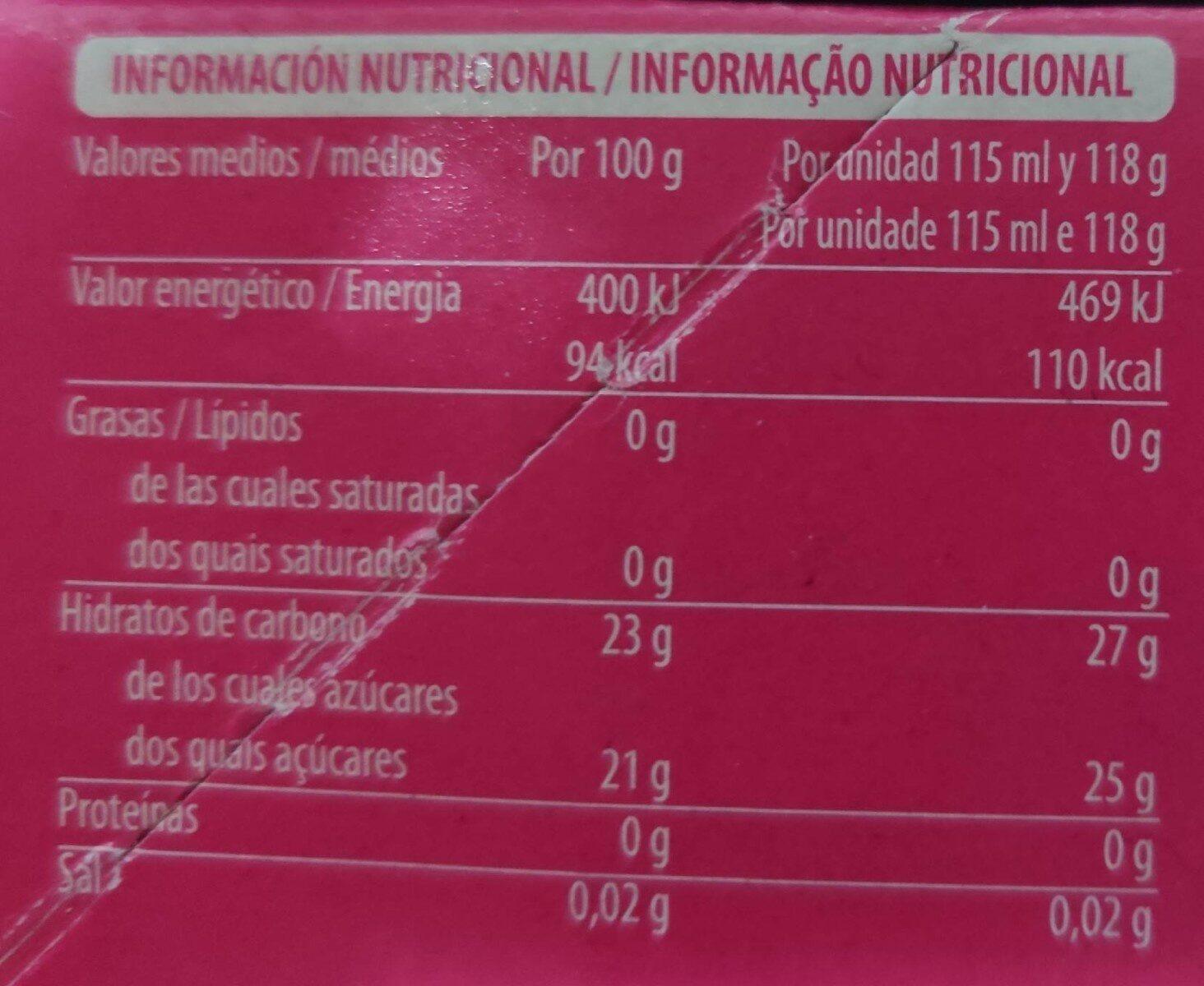 Fresa calipo - Informations nutritionnelles - es