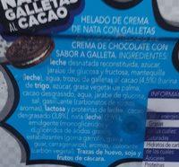 Helado nata con galletas al cacao - Ingredientes