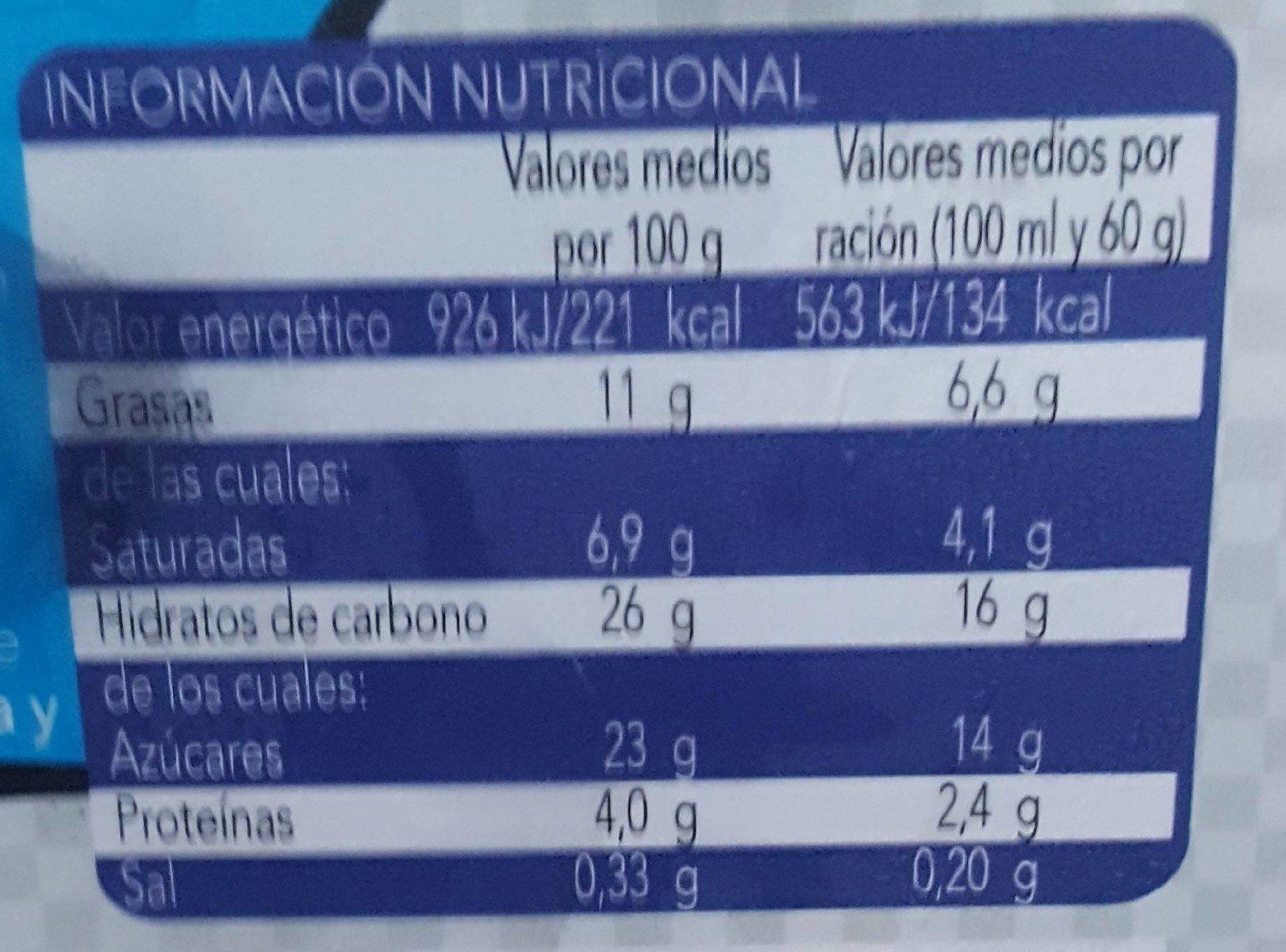 Helado nata con galletas al cacao - Información nutricional