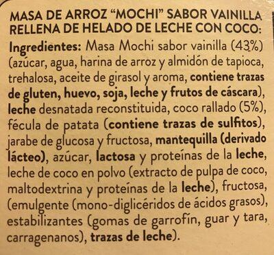 Mochi helado con coco - Ingredientes