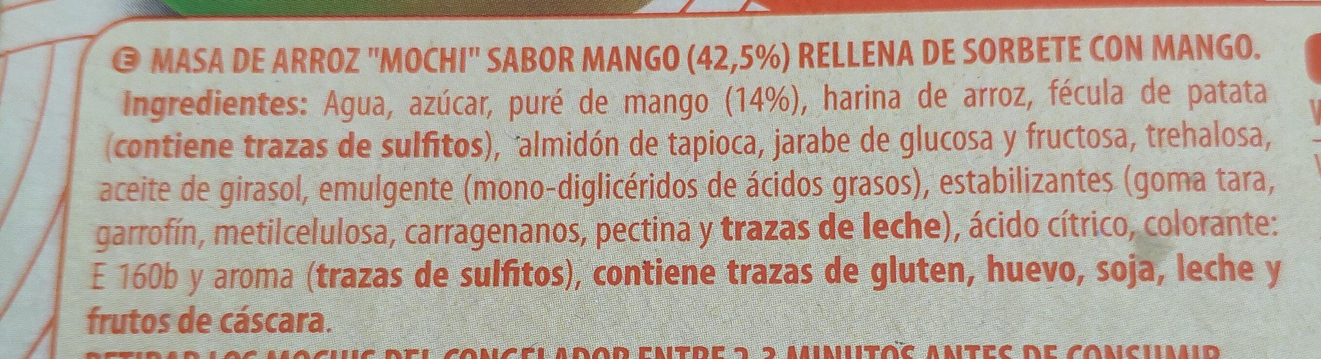 Mochi helado con mango - Ingredients - es