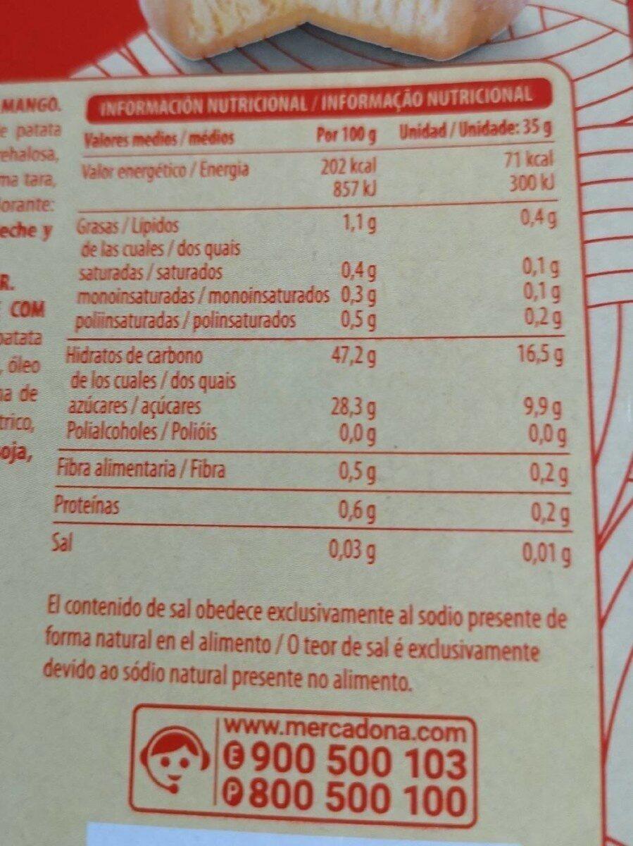 Mochi helado con mango - Informació nutricional - es