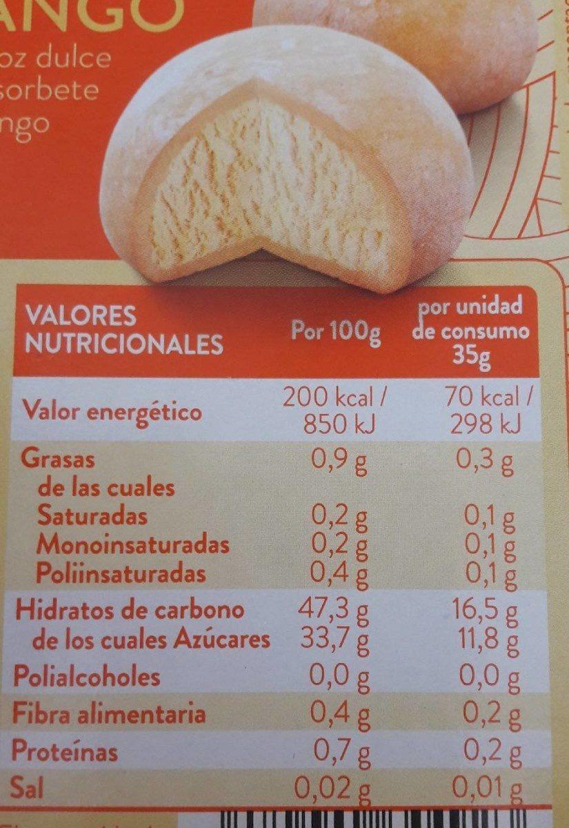 Mochi helado con mango - Informations nutritionnelles - fr