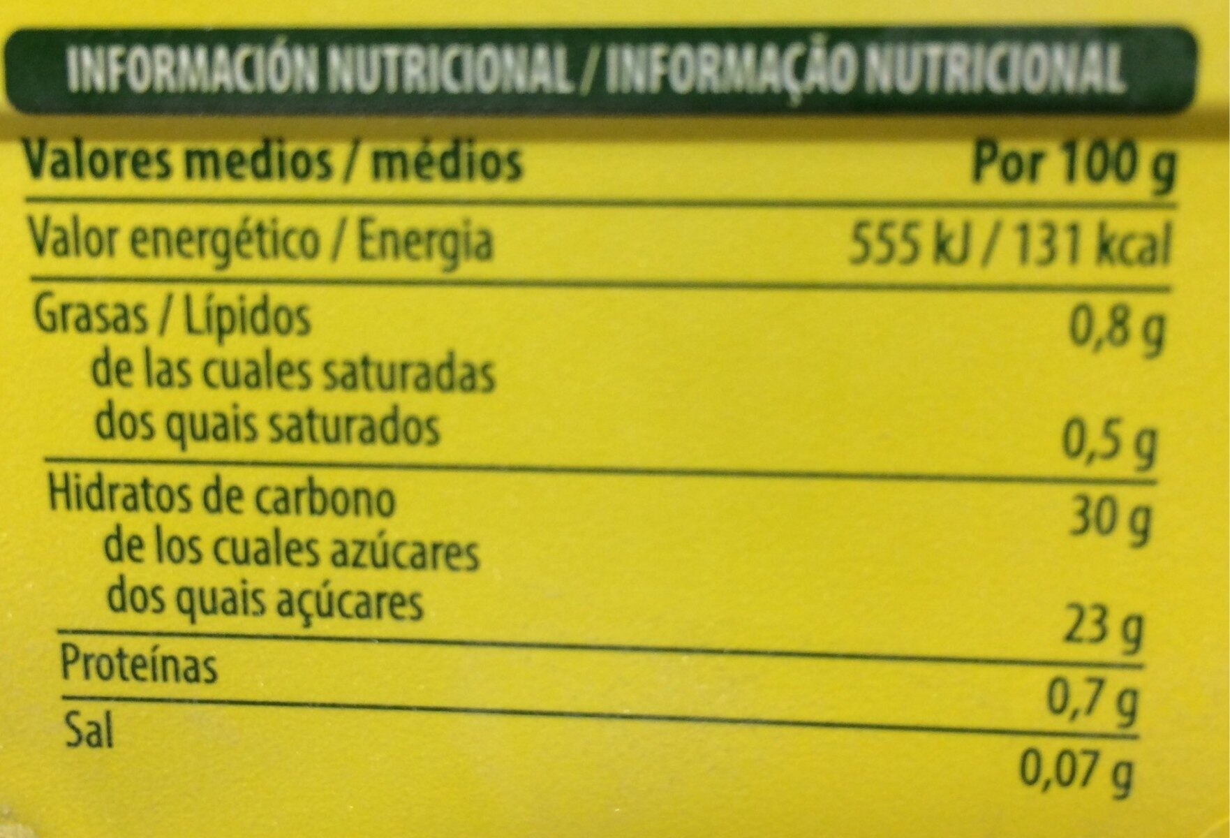 Limon - Información nutricional