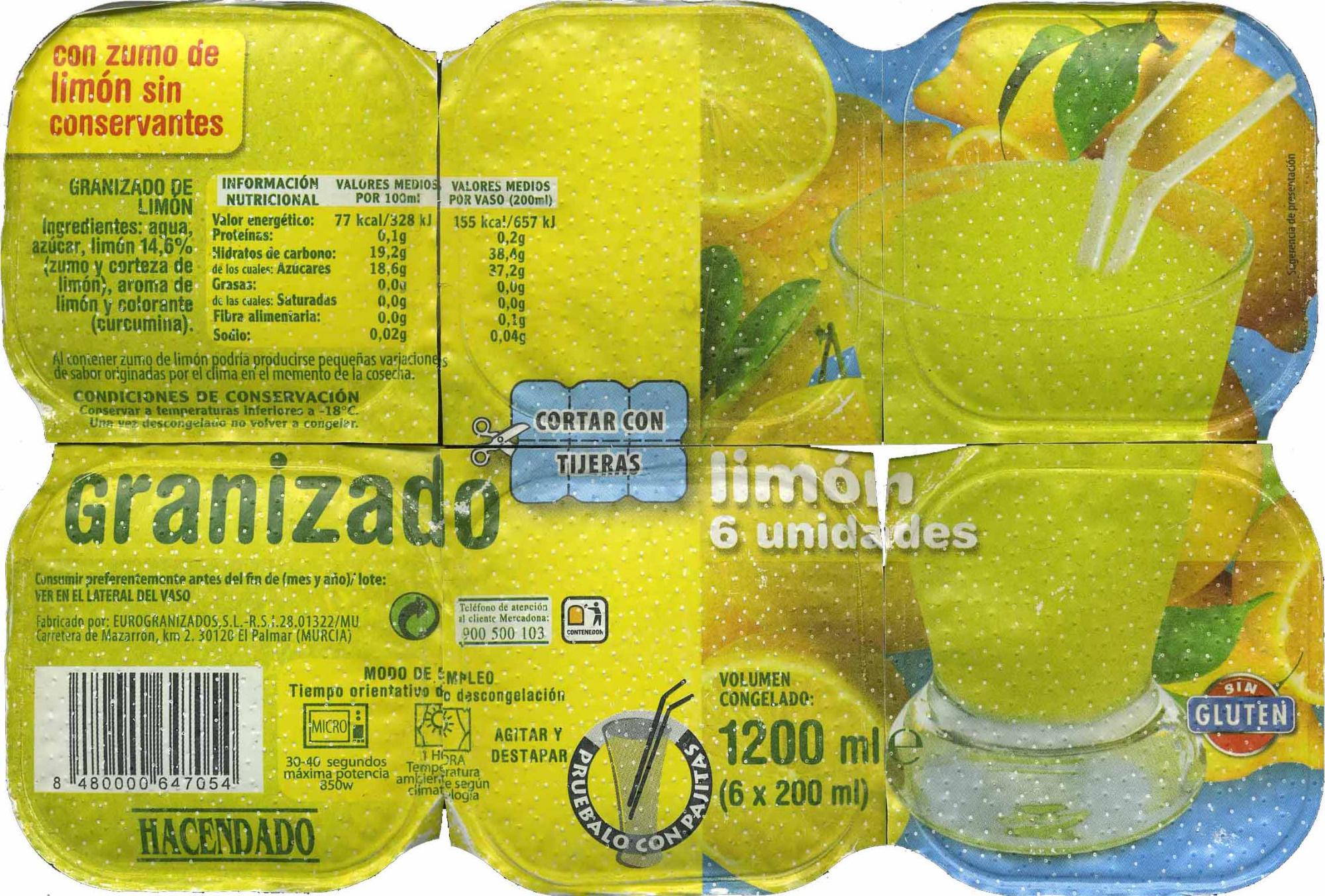Granizado De Limón Hacendado 1 200 Ml 6 X 200 Ml